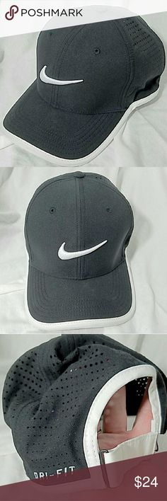 NIKE Black & White Classic 99 Dri-Fit hat Cap Brand: Nike  Item: *Black & White Classic99 Dri-Fit Ball Cap *Front 2 Panels Have a White 3-D Swoosh on the Front *Back 4 Panels Have Pretty Large Hole for Mesh Breathability *There is a Velcro strap Across the Back you You Adjustible Fit - There is a Fain Line of Makeup Along the Bottom Seam Inside the Hat *'Dri-Fit- is Also Stped Next to rhis Openinf & Strap *Strap Has a Reflective Silver & Black Swoosh at the End of the Velcro *As Described…