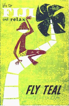 Fiji ● Fly TEAL #travel #poster 1962