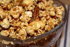 Homemade Crunch and Munch - toffee popcorn - so delish! I only used 1/2 stick of butter to cook on the stove with the sugars and corn syrup.