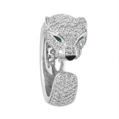 55df6349e Cartier Panthere de Cartier 18K White Gold, Diamond, Emerald & Onyx Ring -  modaselle