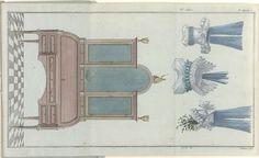 A.B. Duhamel   Magasin des Modes Nouvelles Françaises et Anglaises, 10 octobre 1788, 33e cahier, 3e année, Pl.  1, 2 et 3, A.B. Duhamel, Buisson, 1788   Cylinder bureau met boekenkast. Drie mutsen: `1. 'à la hussarde' van blauwe tafzijde met witte linten. 2. 'demi-bonnet' met guirlande van blauwe linten. 3. ' à la Pondichéri', witte 'calotte', blauw gaas en linten. De prent maakt deel uit van het 33e Cahier, 3e année, uit de serie Magasin des Modes Nouvelles Françaises et Anglaises. De serie…