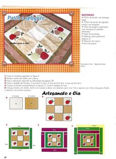 Artesanato e Cia : Toalha de mesa em patchwork e patchcolagem (com molde)