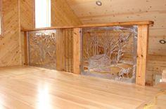www.custommetaldesigns.webs.com Handrailing in a log home!