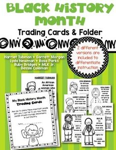 Trading Cards and Folder for Black History Month. Students learn about contributions made by 7 different African Americans. 2 versions to differentiate instruction! Perfect for Kindergarten and First Grade $