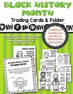 Black History Month {Trading Cards & Folder} Social Studie