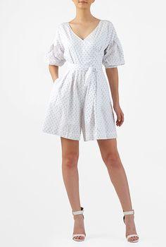 I <3 this Swiss dot cotton statement sleeve romper from eShakti