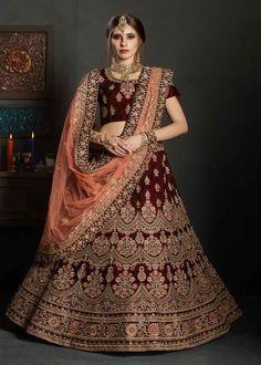 bf56253f1e Designer Lehenga Choli · Fancy Maroon Color Pure Velvet Heavy Embroidered  Wedding Wear Bridal Lehenga Bridal Lehenga Online, Bridal