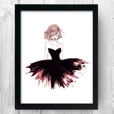 Fashion Illustration - Girl with Black Dress - Fashion Drawing Print