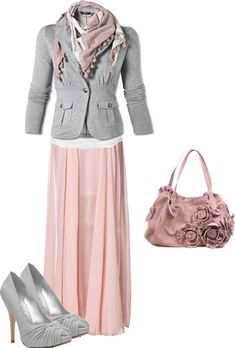 """pink, grey and white."" by trinity-holiness-girl on Polyvore"