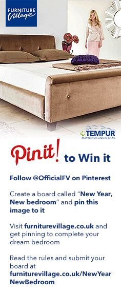 Win a new bedroom for the New Year with our Pin it to Win it competition.  http://www.furniturevillage.co.uk/magazine/Competitions/New-Year-New-Bedroom.aspx