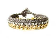 next arm candy purchase :) Rhinestone Friendship Bracelet-gold chain- DARK GREY- Shipping with tracking. $63.00, via Etsy.