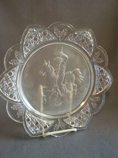 EAPG - Gillinder & Sons 'Classic' Pattern Plate w/Warrior Slaying a Lion Flint Glass, Greek Warrior, Old Plates, Glass Company, Pressed Glass, Antique Stores, Early American, Milk Glass, China Cabinet