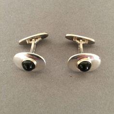 Gallery 925 - Georg Jensen Modernist Cufflinks with Black Onyx by Andreas Mikkelsen No. 203A, Handmade Sterling Silver