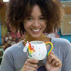 This folk mug will have you smiling every time you drink from it! Hand sculpted, ceramic mug is microwave and dishwasher safe wiith a cute and playful design. Magical Unicorn, Cute Unicorn, Lesbian Gifts, Cute Coffee Mugs, Coffee Cups, Think Happy Thoughts, Cute Cups, Natural Life, Inspirational Gifts