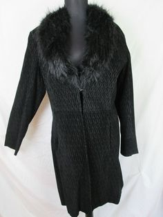 Venus Williams Black Suede Coat Fur Collar Wilson's Leather Women's Size L #WilsonsLeather #BasicCoat