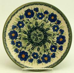 "8.5"" Salad Plate, Bold Blue Blossoms pattern. Polish Pottery Outlet."