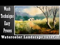 Loose Watercolor technique: How to paint Wash technique landscape with w. Watercolor Landscape Tutorial, Step By Step Watercolor, Watercolour Painting, Watercolor Lesson, Watercolours, Painted Hills, Watercolor Techniques, Learn To Paint, Beautiful Landscapes
