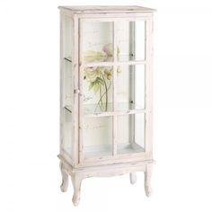 Vitrina con flores en color blanco envejecido en madera de abeto mdf y cristal. Se vende en www.indalonaturacosasbonitas.es