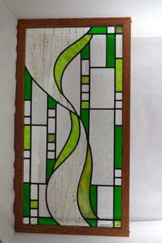 Spring Time Panel with Oak Frame. $250.00, 26 by 14 #StainedGlassPanels
