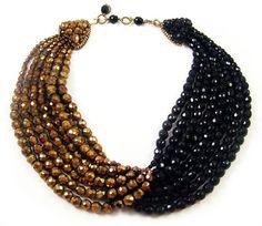 COPPOLA e TOPPO Multi-strand Jet & Bronze Crystal Beads Necklace