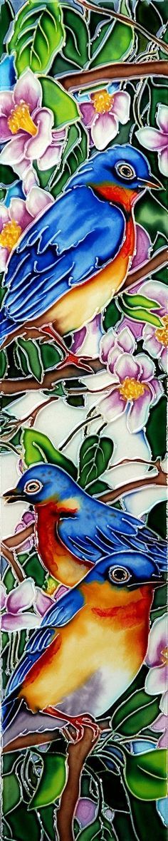 "Amazon.com: 16"" x 3"" Blue Birds Art Tile in Multi: Home Improvement"