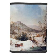 Americana Winter Snow Pond Horse Sleigh Lamp Shade - winter gifts style special unique gift ideas