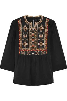 Isabel Marant|Roma embroidered silk blouse|NET-A-PORTER.COM