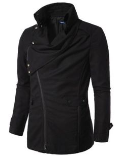 Amazon.com: Doublju Mens Jacket with Asymmetry Zipper: Clothing