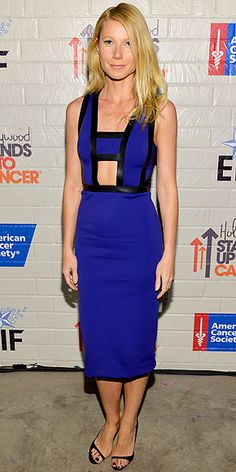 GWYNETH PALTROW   Never one to miss an opportunity to remind us of her dedication to fitness, the actress wears a cobalt blue neoprene dress with a midsection cutout and black leather trim by David Koma at the Hollywood Stands Up to Cancer event in Culver City, Calif.