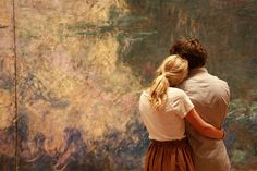 Couple admires Monet's waterlilies at the museum of modern art