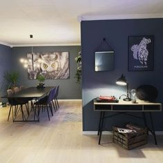 @kamillawi Dining Room Inspiration, Interior Inspiration, Living Room Interior, Living Room Decor, Farrow Ball, Farmhouse Remodel, Blue Rooms, Modern Kitchen Design, Room Colors