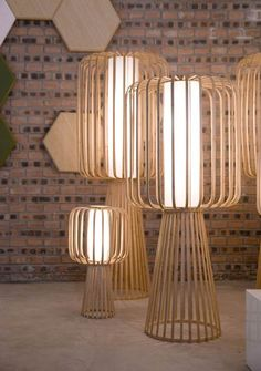 Handmade lamps created with curled bamboo.