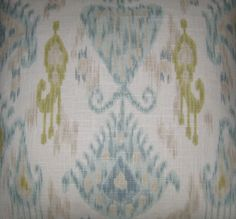 Blue, Green, Grey Ikat design