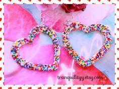Big Open Heart Yummy Candy Sprinkle Resin Earrings by tranquilityy