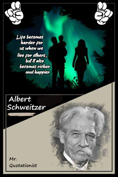 Life becomes harder for us when we live for others, but it also becomes richer and happier - Albert Schwartzer #lifequotes💜 #albertschweitzerquotes #albertschweitzerquote Albert Schweitzer Quotes, How To Become Rich, When Us, Life Quotes, Live, Happy, Movie Posters, How To Become Wealthy, Quotes About Life