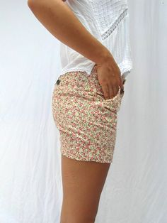 Vintage floral shorts 80s fashion cotton by frenchvintagedream