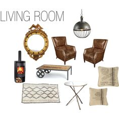 """""""Get the Look: Industrial Americana Living Room"""" by kathykuohome on Polyvore #howto"""