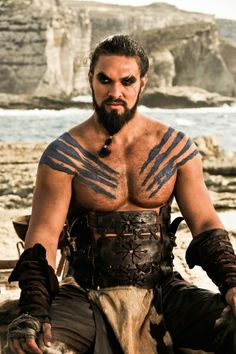 "Jason Momoa - Khal Drogo When he died in the book I GRIEVED!! Jon's like babe what's wrong???? I'm all ""khal drogo is ddeeeaaaaaaddddd!!!"""