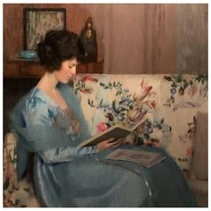 An exceptional portrait of a woman reading a book on a sofa was painted by American artist Louise Williams Jackson (1872-1939). Born in Newton, Massachusetts in 1872. She and her family moved to