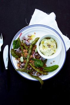 warm bean and farro salad with horseradish cream.