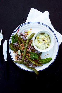 warm bean and farro salad with horseradish cream.