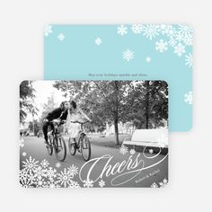 Snowflake Cheers Holiday Photo Cards from Paper Culture