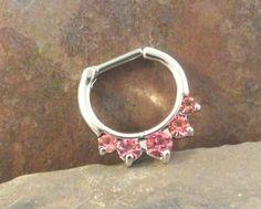 14 Gauge Pink Crystal Septum Ring Clicker Bull Ring Nose Piercing
