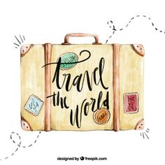 Fundo Do Curso Com Mala De Viagem Aguarela Travel Drawing, Travel Illustration, Watercolor Illustration, Watercolor Art, Travel Wallpaper, Travel Design, Travelers Notebook, Travel Quotes, Travel Pictures