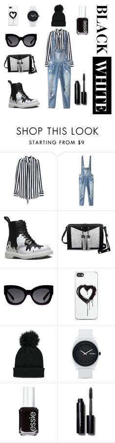 """""""DENIM B&W"""" by khansavieba ❤ liked on Polyvore featuring Mulberry, Relaxfeel, Dr. Martens, Carianne Moore, Karen Walker, Zero Gravity, Forever 21, Nixon, Essie and Bobbi Brown Cosmetics"""