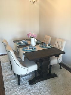 my spring dining room w/new chairs. world market-paige round back