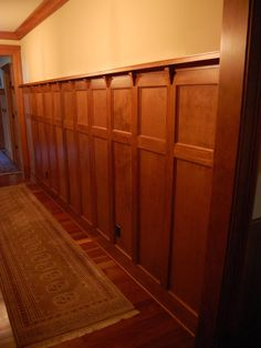 Craftsman Wainscoting.  This is almost perfect, but I want squared sticking, not beveled.