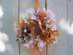 Shabby Chic Fabric and Origami Flower by GracelinePaperStudio, $26.00