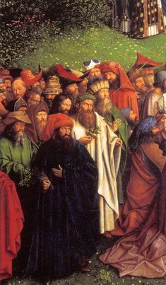 Hubert and Jan van EYCK / The Ghent Altarpiece with wings open (lower section) / Adoration of the Lamb (detail)  1425-29  Oil on wood  Cathedral of St Bavo, Ghent