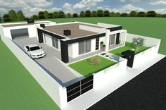Gilmara Queiroz's media content and analytics Flat Roof House Designs, House Outer Design, House Front Design, Small House Design, Roof Design, Model House Plan, House Layout Plans, Dream House Plans, House Construction Plan